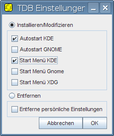 Setting autostart options for the current user